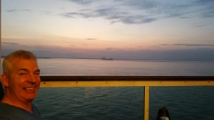 Balcony sunrise breakfast Mariner of the Seas Paul and Carole