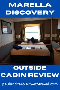 Marella Discovery outside cabin review pin Paul and Carole