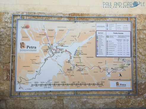 Visiting Petra Jordan,The map of petra shows us what lies ahead. #petra #wondersoftheworld #roseredcity #jordan #visitingpetra #paulandcarole