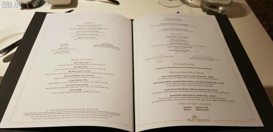 P&O Oceana Cruise Ship Ligurian restaurant #finedining #anytimedining #waiterservice #formalnights #greatfood #dinnertime #menu #finewine