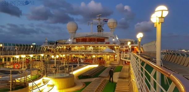 P&O Oceana Cruise Ship -  rivera bar on the sun deck #P&O #P&O Oceana P&O cruises #europeancruiseports #cruises #shiplife #sundeck #relaxation #nighttime