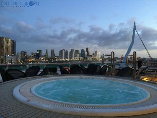 P&O Oceana Cruise Ship aft views over Rotterdam #P&O #P&O Oceana P&O cruises #europeancruiseports #cruises #shiplife #rotterdam #Belgium #Erasmusbridge #theswan