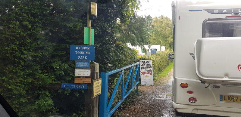 Entrance to Wysdom touring park, Burford