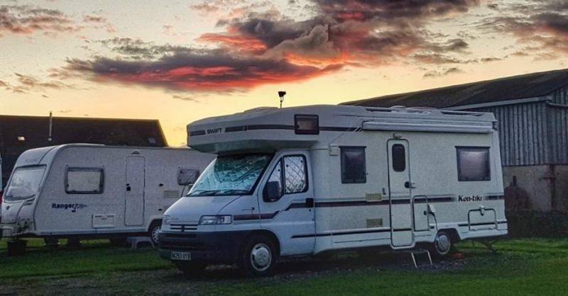 Our motorhome Plusterwine Farm Campsite Woolaston Gloucestershire