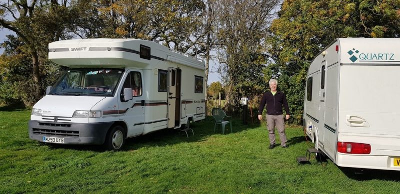 pitch at Drum and Monkey Pub campsite pitch upton upon severn