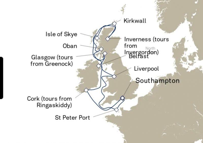 British Isles itinerary map Cunard