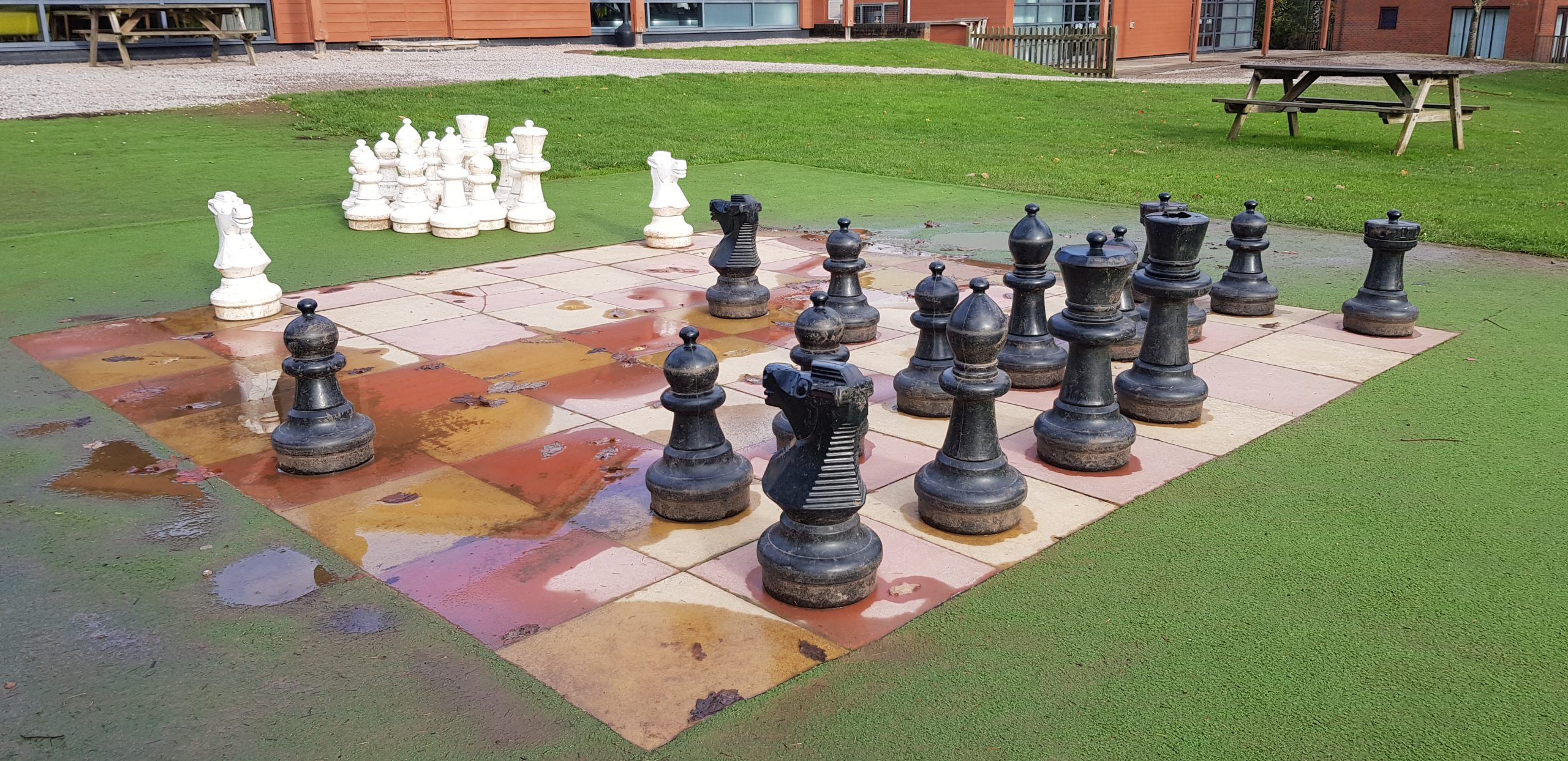 chess board outside whitemead forest park