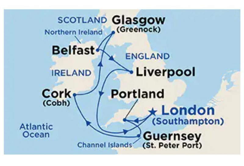 British Isles itinerary map Princess