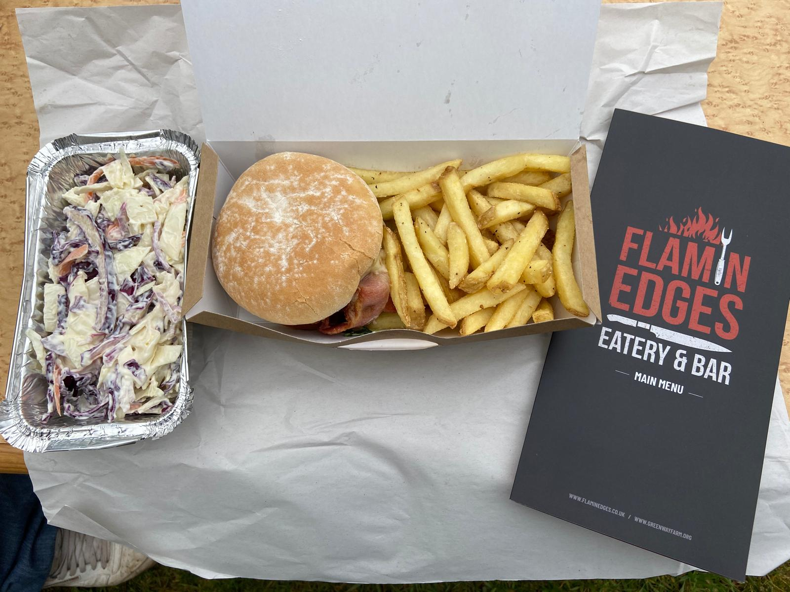 Burger Flamin Edges Eatery and Bar Greenway campsite
