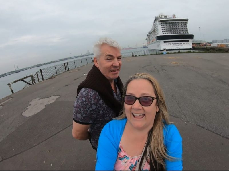 MSC Virtuosa and Paul and Carole Love to Travel in Southampton Cruise Terminal