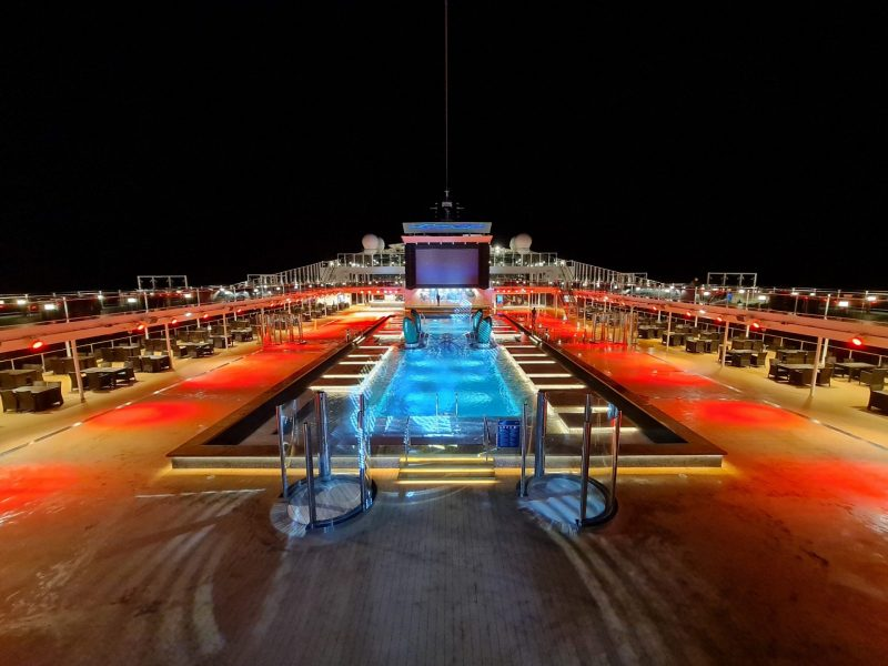 MSC Virtuosa Pool deck at night