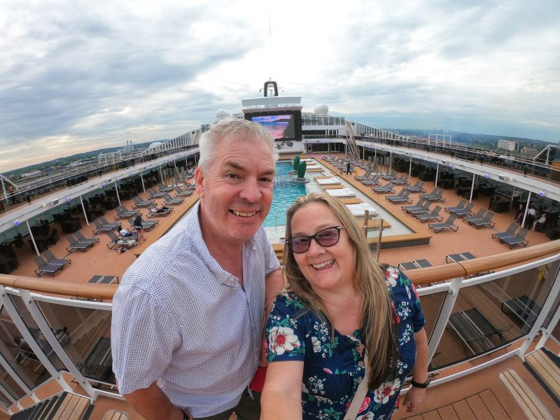 Paul and Carole embarkation day pool deck MSC Virtuosa