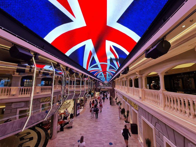LED Dome Union jack welcome MSC Virtuosa Cruise Ship Paul and Carole