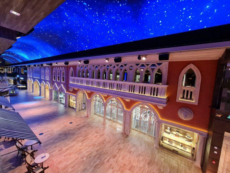 Galleria LED Dome night sky MSC Virtuosa Cruise Ship Paul and Carole