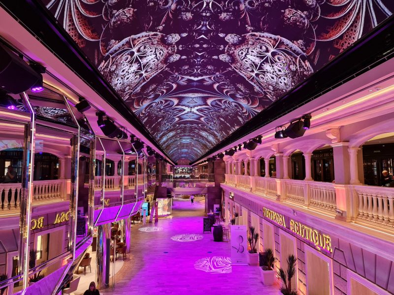 LED Dome pink MSC Virtuosa Cruise Ship Paul and Carole