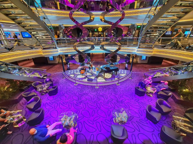 Looking down to ground floor Atrium MSC Virtuosa Cruise Ship Review