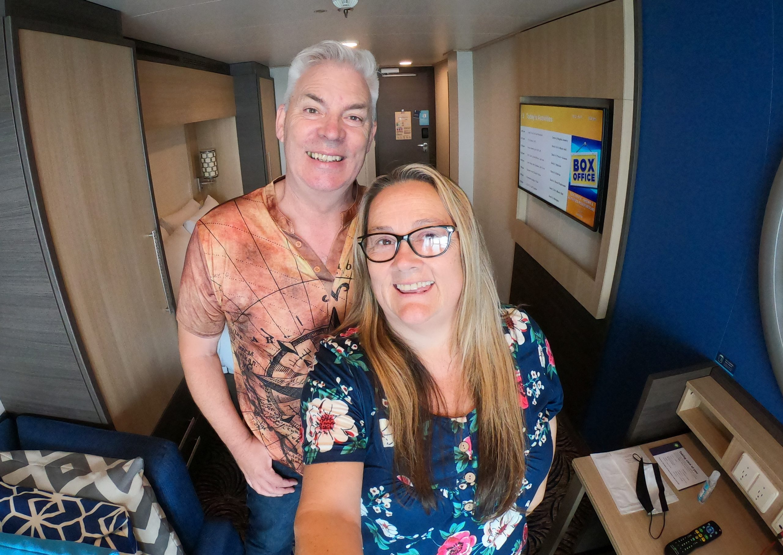 Paul and Carole Anthem of the Seas balcony cabin