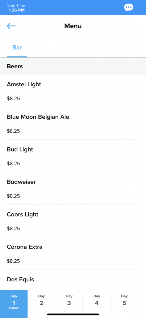 Beer Bar prices drinks costs anthem of the seas royal Caribbean cruises