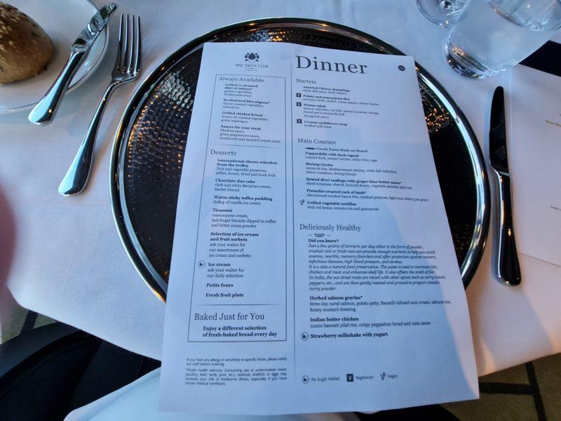 Dinner menu Yacht Club MSC Virtuosa Cruise Ship Review