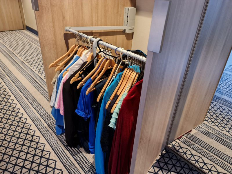 P&O Iona Accessible Balcony Cabin 12514 Review Storage space wardrobes and cupboards