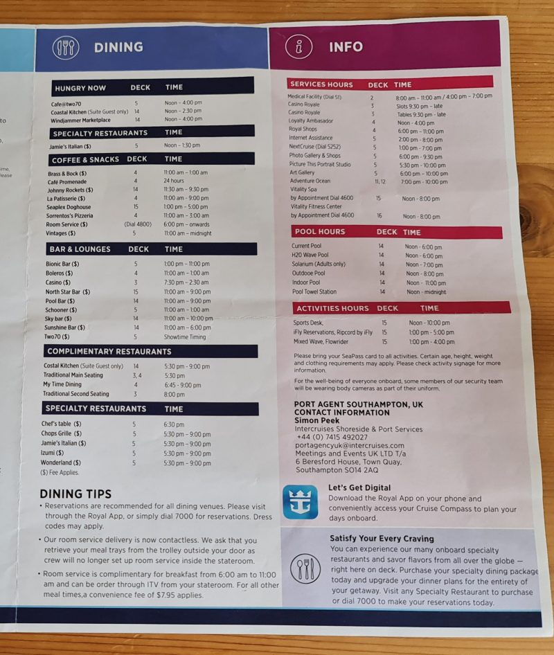 Anthem of the Seas Cruise Compass Daily Program activities and what's on the ship dining and information