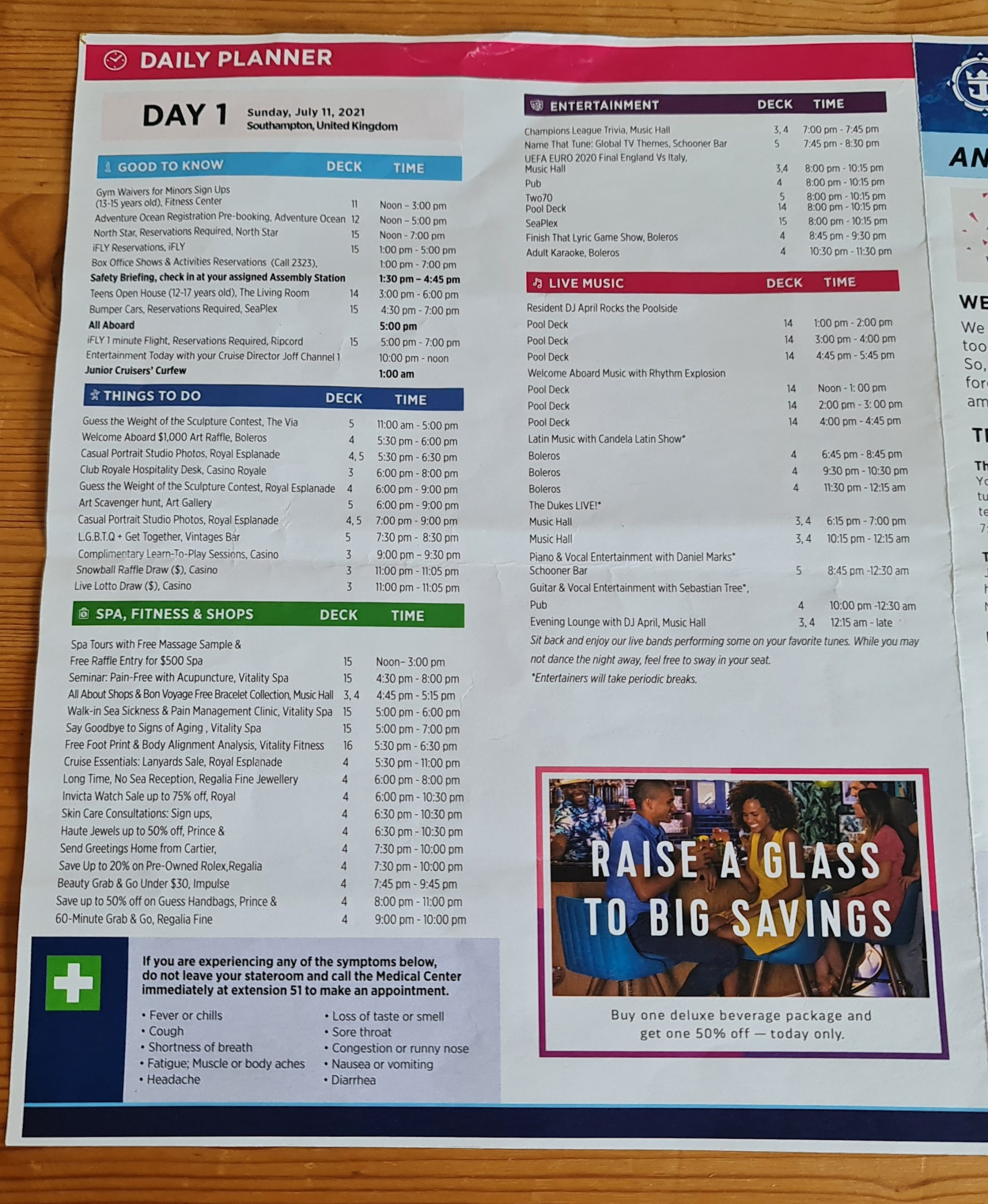 Royal Caribbean Anthem of the Seas Cruise Compass Daily Program