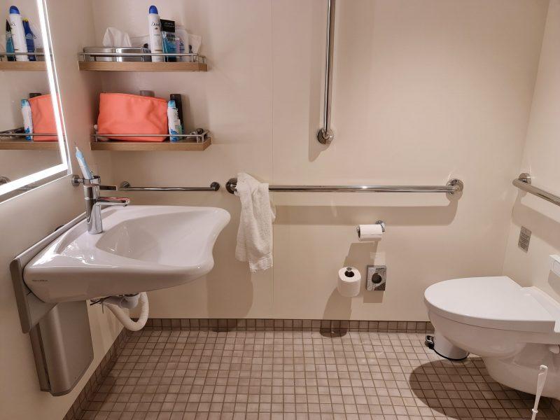 P&O Iona Accessible Balcony Cabin 12514 Review balcony bathroom