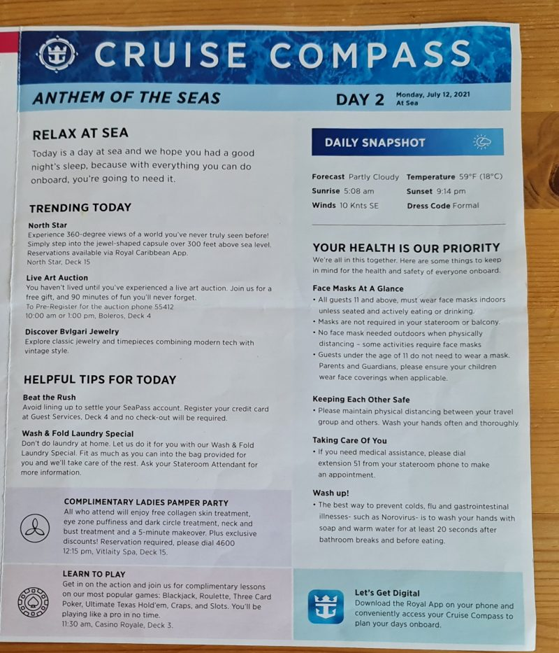 Day 2 Anthem of the Seas Cruise Compass Daily Programs front page