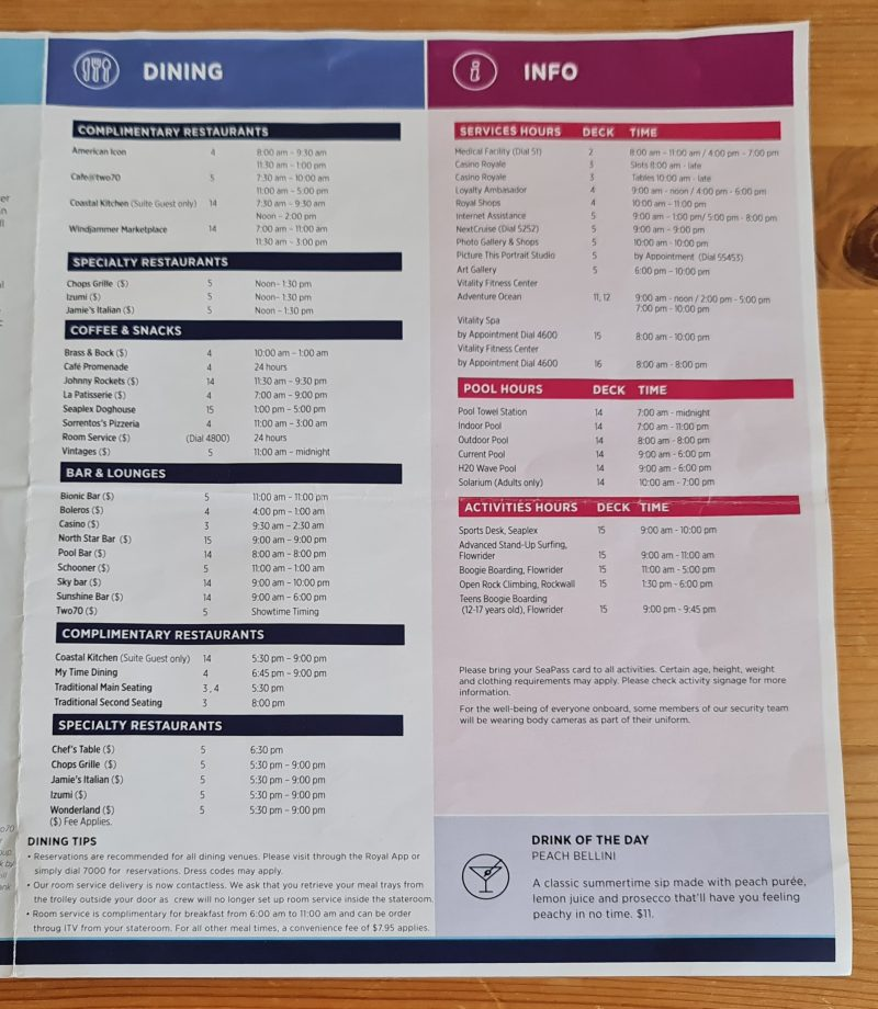 Royal Caribbean Anthem of the Seas Cruise Compass Daily Programs Day at Sea top dining times and venues