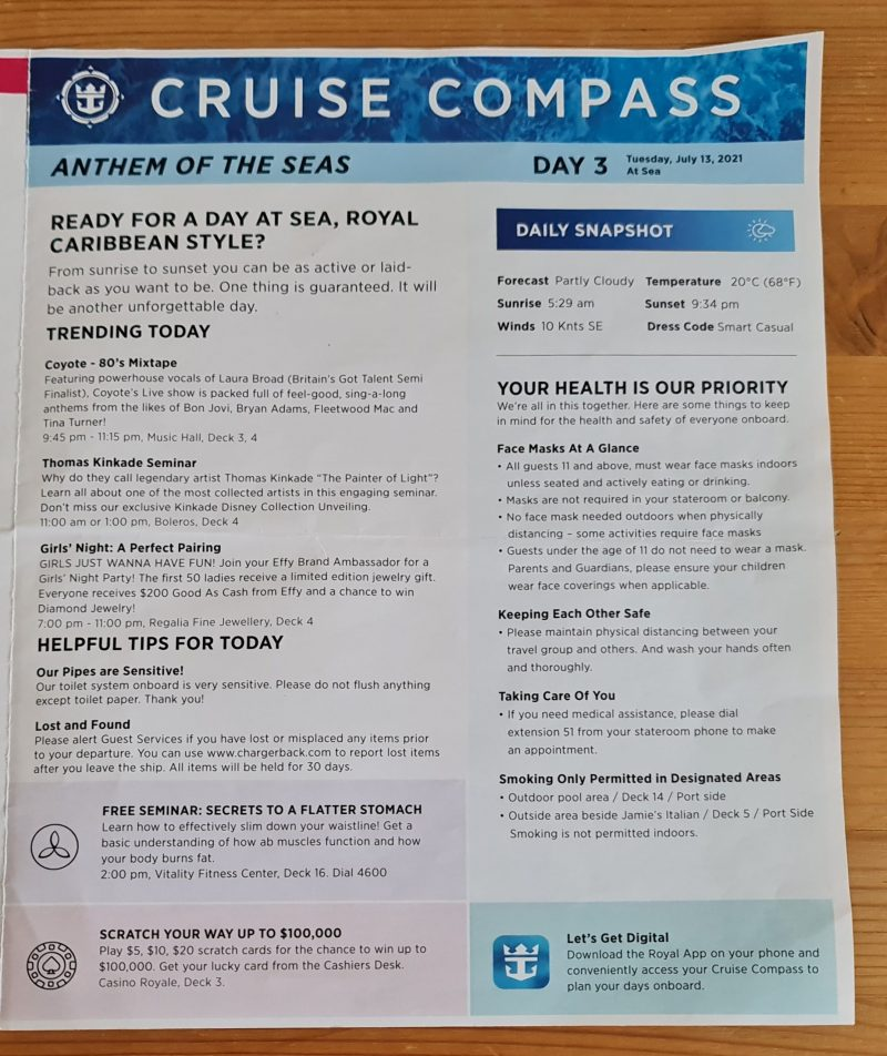 Royal Caribbean Anthem of the Seas Cruise Compass Daily Programs Day at Sea