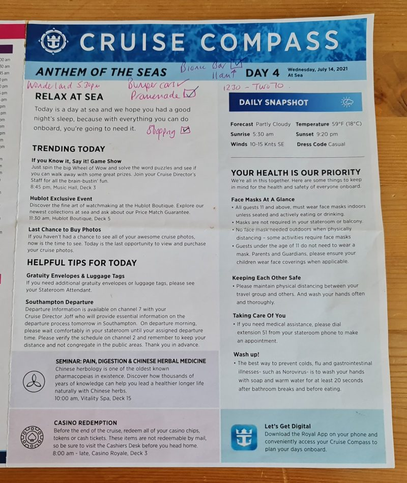 Seacation UK Royal Caribbean Anthem of the Seas Cruise Compass Daily Programs Front page