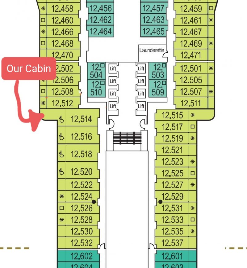 P&O Iona Accessible Balcony Cabin 12514 Review Deck 12 plan