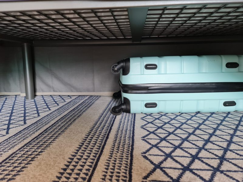 P&O Iona Accessible Balcony Cabin 12514 Review Storage space wardrobes and cupboards under bed
