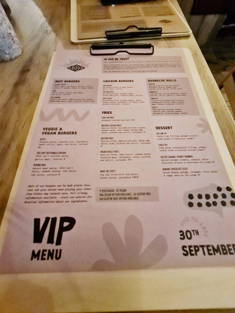 Hub Box menu Cheltenham Restaurant Review Brewery Quarter Paul and Carole Love to Travel