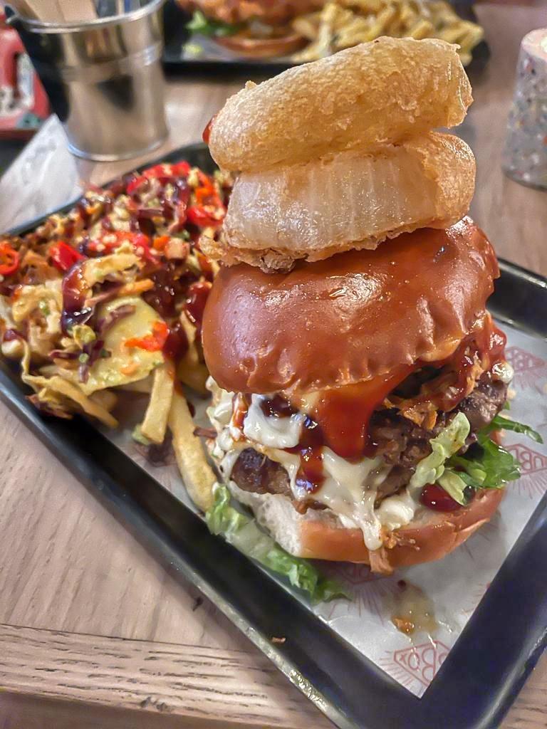 Hub Box Cheltenham Restaurant Review Brewery Quarter Paul and Carole Love to Travel Kahuna burger